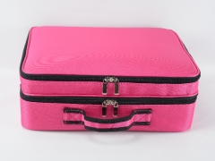 Professional Cosmetic Train Case Makeup Storage Bag Made With Oxford Fabric Adjustable Dividers Makeup Train Bags