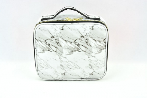 Beauty white marble travel makeup bag small size cosmetic train case makeup toiletries case with golden zipper