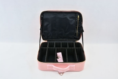 Travel cosmetic train bag portable pink PU makeup case double zippers beauty makeup box for artists