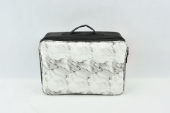 Oxford and PU cosmetic train case black cloth and white PU marble pattern makeup case new design makeup bag with strap