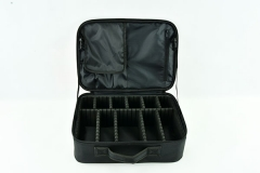 Oxford cosmetic bag with 2 layers black makeup case with marble pattern for artist and hairdresser with dividers