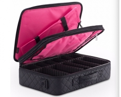 Nylon cosmetic case with 3 layers to storage cosmetics black portable makeup trian case for artist