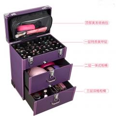 Pink PU makeup trolley cases hairdressing vanity case with rolling wheels