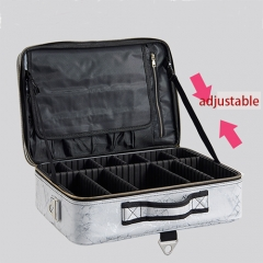 Best white and bright gray marble makeup train case portable beauty cosmetic case with waterproof PU leather for makeup artist
