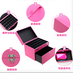 PU portable nail polish cases large compartment for nail & toiletry