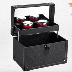 Black portable makeup kit case high quality PU beauty nail storage box with mirror