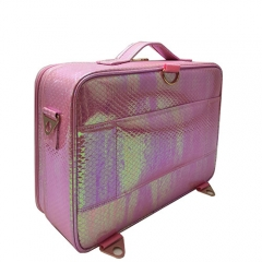 Snakeskin pattern PU leather makeup cases pink