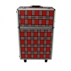 Rolling cosmetic train cases with plaid pattern