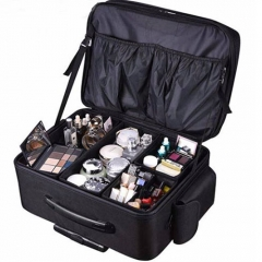 Nylon soft makeup case black rolling cosmetic case Oxford trolley travel bag