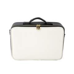 PU leather cosmetic train case with adjustable dividers for cosmetics makeup brushes white and black