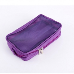 Mini Travel bag makeup toiletry bag double zipper breathable mesh cosmetic storage case