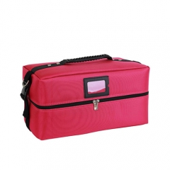 Red professional makeup case large compartment cosmetic bag with 4 trays.