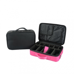 Light weight nylon makeup case toiletry cosmetic case with 2 layers for organize storage cosmetics and tools