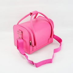 Soft lightweight makeup case pink cosmetic box beauty PU leather makeup bag with zippers