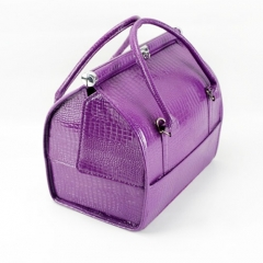 Beauty leather makeup nail box cosmetic vanity case large space purple