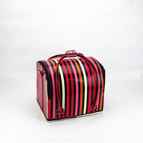 Striated makeup case beauty nail cosmetic box portable vanity case