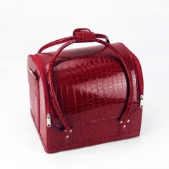 Red croc makeup vanity case cosmetic storage box artist nail bag travel soft handle