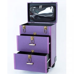 Makeup trolley rolling beauty nail case leather large storage with wheels suitcase