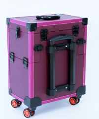 Leather makeup trolley bag medium cosmetic train luggage storage with 4 wheels