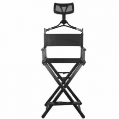 Professional makeup chair with headrest black aluminum makeup artist chair portable and foldable