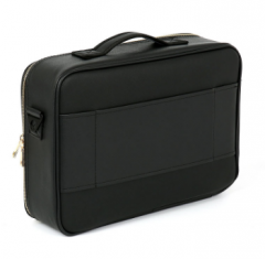 Black Pro Makeup Case With Gold Zippers Portable Leather Makeup Bag