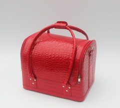 Beauty Leather Cosemtic Case Red Pu makeup cases manufacturer